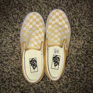 Women's Yellow and White Checkered Vans💛💛💛